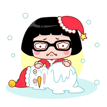 Sad cartoon girl with melting snowman