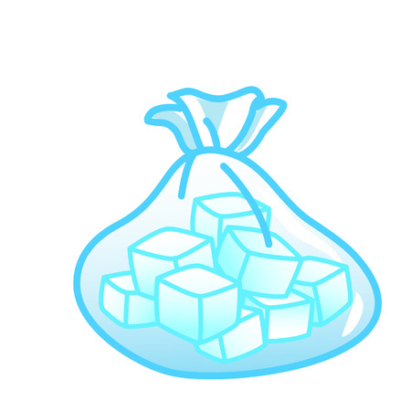 Cartoon bag of ice cubes