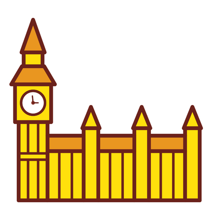Cartoon building with clock