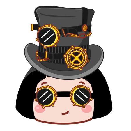 Cute cartoon girl with steampunk concept
