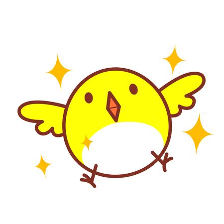 Cute cartoon bird flying