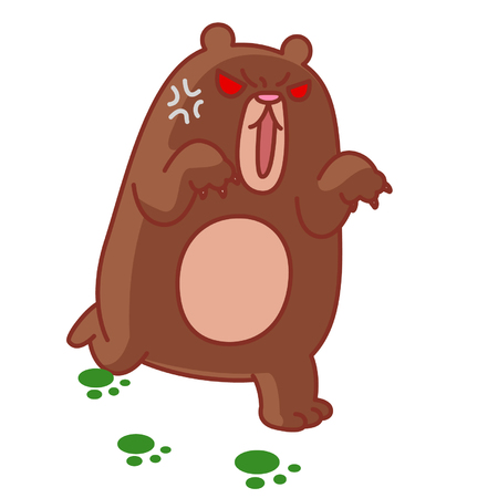 Cartoon angry bear Çizim