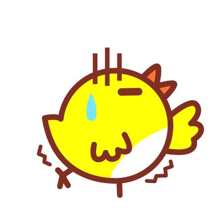 Cartoon bird in pain