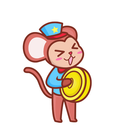 Cute cartoon monkey playing cymbals