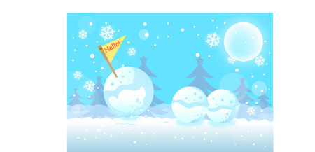 Cartoon outdoor scene with three snowballs
