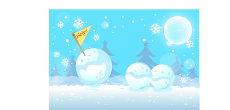 Cartoon outdoor scene with three snowballs