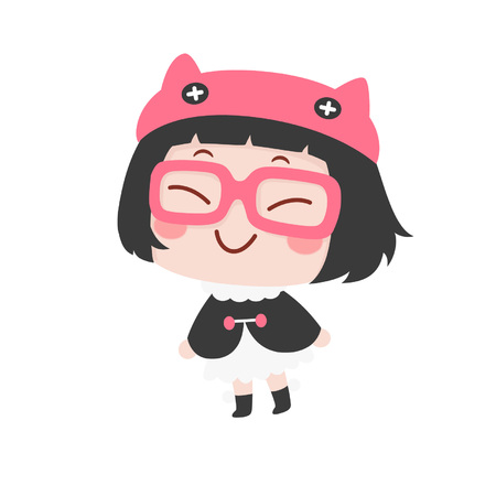 Cute cartoon girl with cape smiling