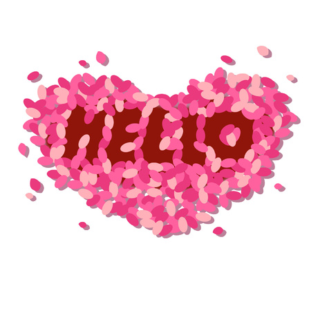 Hello text formed by flower petals