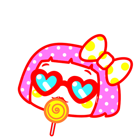 Cute cartoon girl eating a lollipop