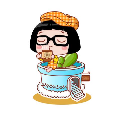 Cute cartoon girl drinking coffee