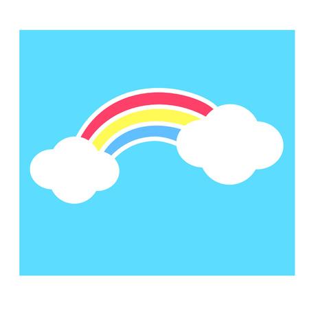 Cute cartoon rainbow and clouds Ilustração