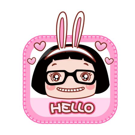 Cartoon girl wearing rabbit ears with greeting