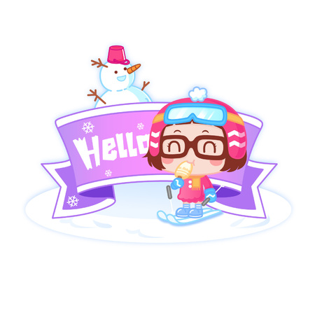 Cartoon girl in winter clothing with Hello banner Ilustração
