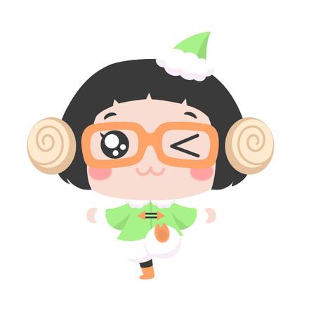 Cute cartoon girl dress up as an elf Illustration
