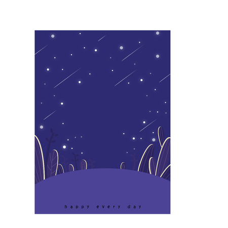 Cartoon outdoor scene with shooting stars Çizim