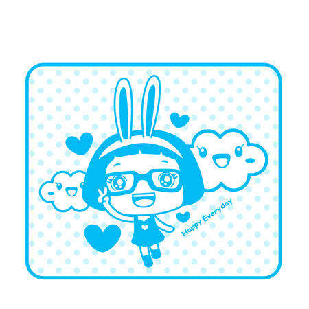 Cute cartoon girl wearing rabbit ears with cloud characters