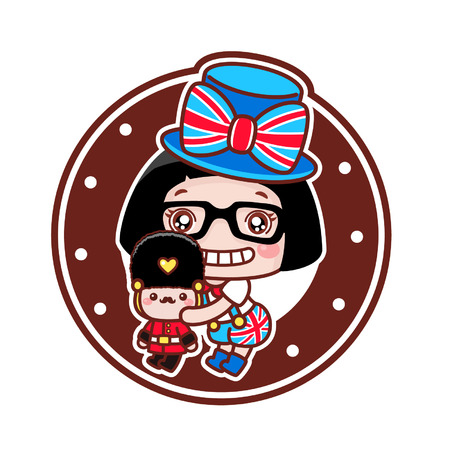 Cute cartoon girl with British royal guard toy Çizim