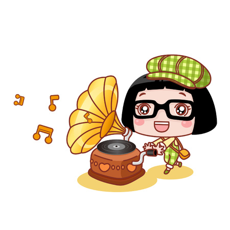 Cute cartoon girl with a phonograph