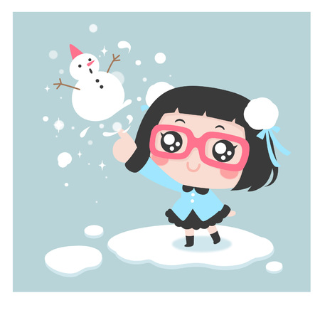 Cute cartoon girl pointing to a snowman Çizim