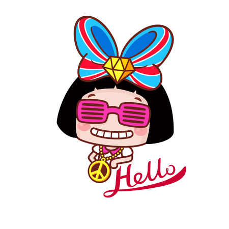 Stylish cartoon girl with the word hello