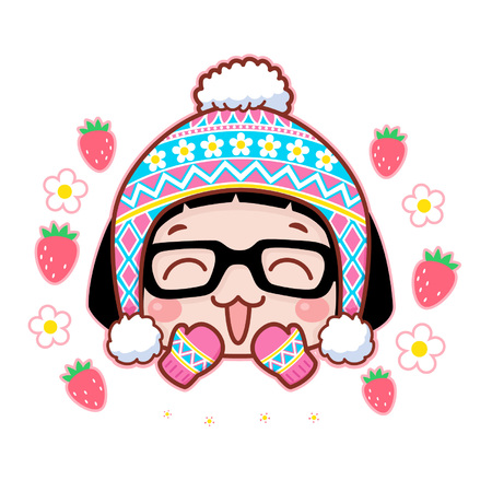 Cute cartoon girl with mittens and beanie
