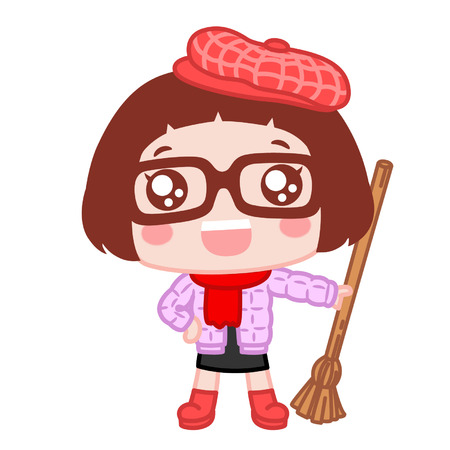 Cute cartoon girl with broomstick