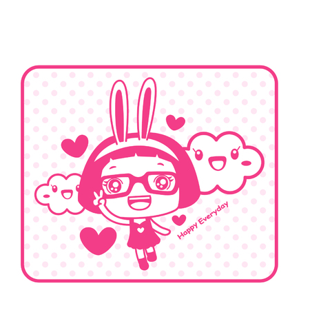 Cute cartoon girl with bunny hairband