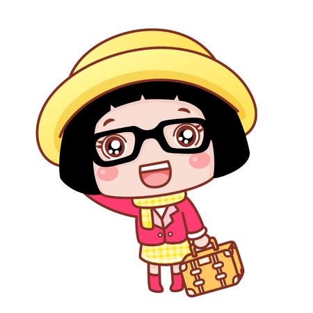 Cute cartoon girl with a bag Ilustração