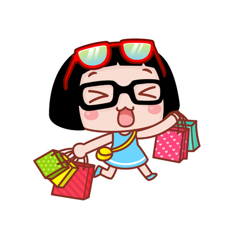 Cute cartoon girl with shopping bags Çizim