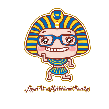 Cute cartoon girl in Egyptian costume Çizim