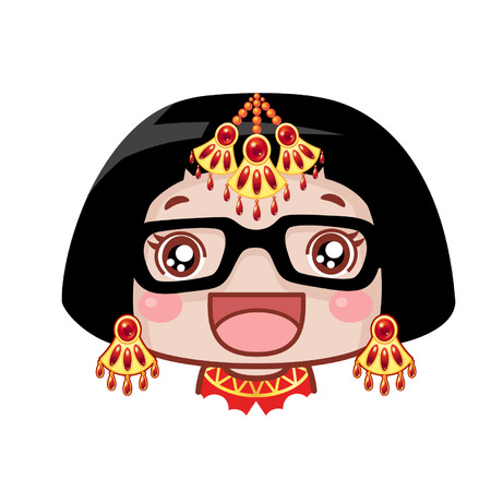 Cute cartoon girl with accessories