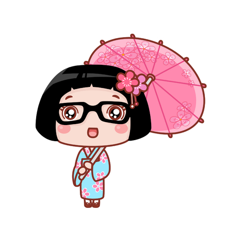 Cute cartoon girl in kimono Çizim