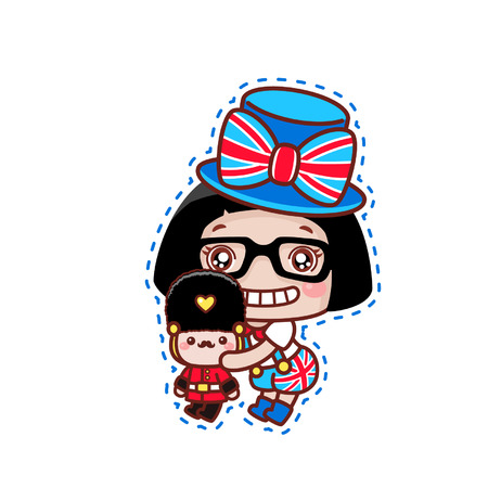 Cute cartoon girl with England theme