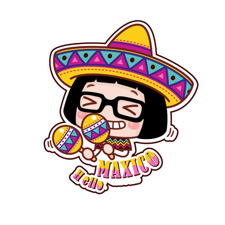 Cute cartoon girl with Mexican theme