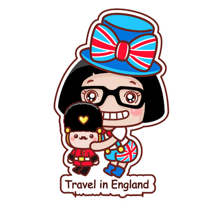 Cute cartoon girl with travel in England concept