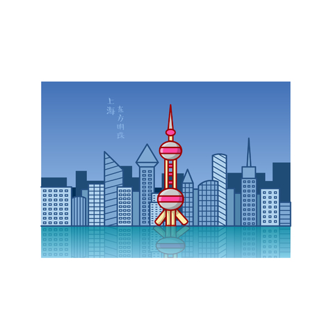 Cartoon Oriental Pearl Tower in Shanghai Ilustração