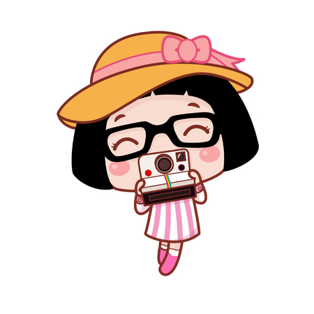 Cute cartoon girl using an instant camera