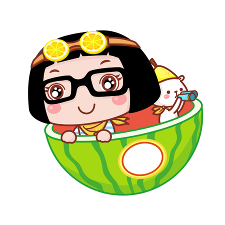 Cute cartoon girl in watermelon Illustration