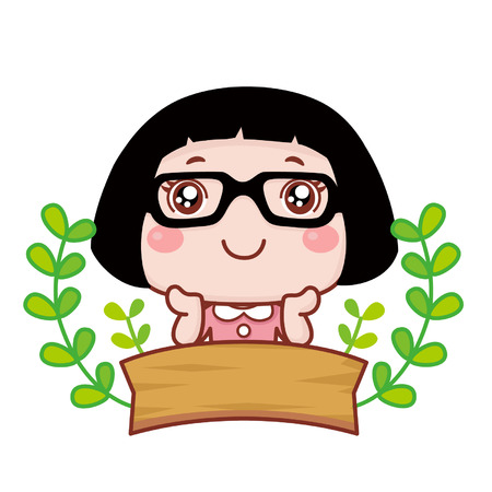 Cute cartoon girl with copyspace Illustration