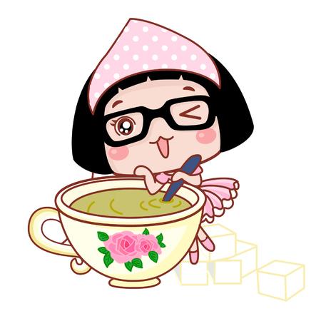 Cute cartoon girl stirring a teacup