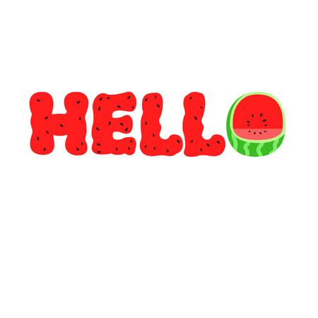 Watermelon hello text