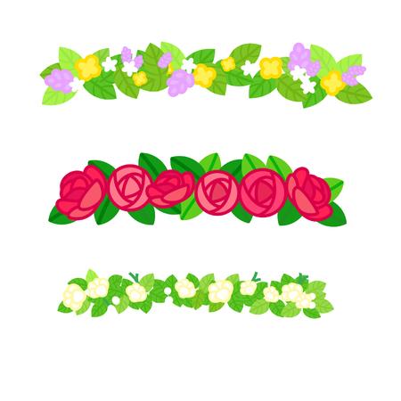 Cartoon floral wreath bands