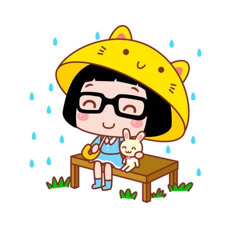 Cute cartoon girl holding a creative umbrella