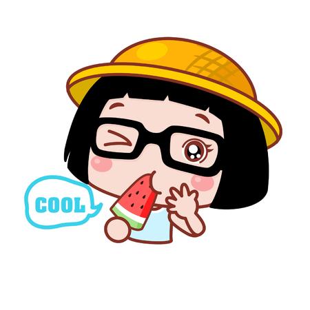 Cute cartoon girl eating a watermelon Ilustração