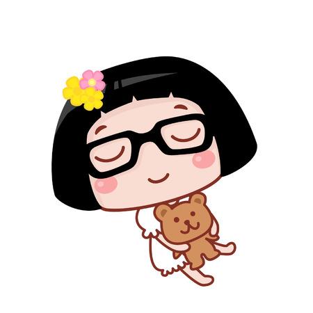 Cute cartoon girl sleeping with a teddy bear