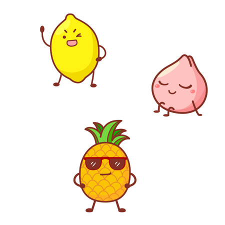 Cute fruit characters