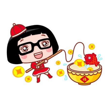 Cute cartoon girl in chinese costume fishing Ilustração