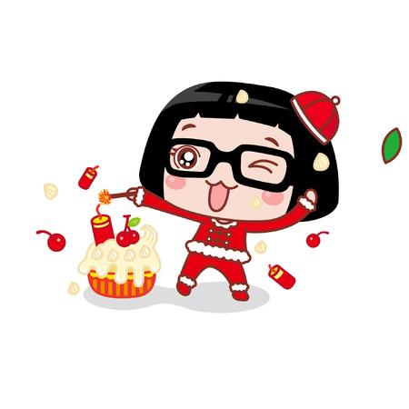 Cute cartoon girl lighting firework in a cake