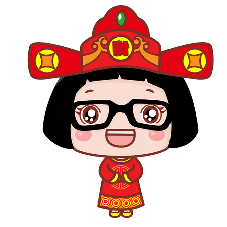 Cute cartoon girl in god of prosperity costume