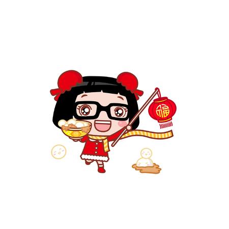 Cute cartoon girl with food and lantern
